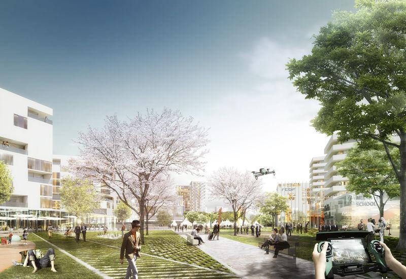 impression nouveau parc urbain à haute densité d'usages (concours masterplan 2015)